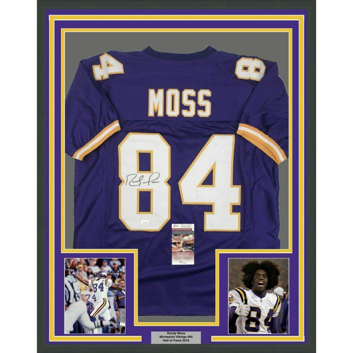 buy popular e16bd 35156 Autographed Randy Moss Jersey - FRAMED 33x42 Purple COA ...
