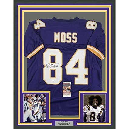 buy popular 9fcee 5583f Autographed Randy Moss Jersey - FRAMED 33x42 Purple COA ...