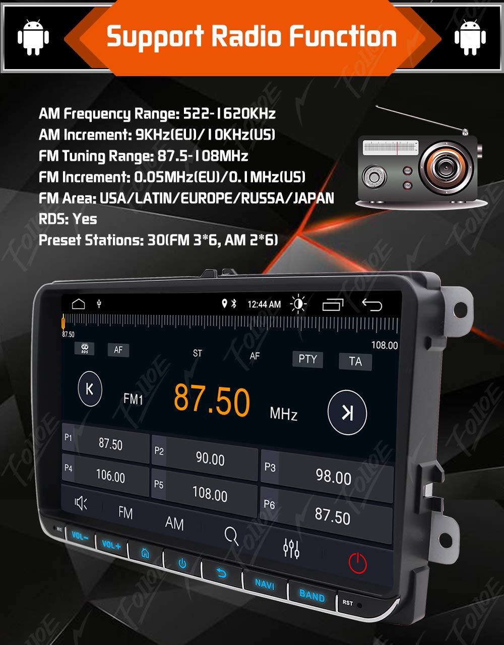 Navegador GPS est/éreo para coche para VW doble DIN unidad de 9 pulgadas 2 DIN est/éreo de 32 GB ROM compatible con GPS Navi USB FM AM RDS Bluetooth SWC sistema Android 9.0 + c/ámara de visi/ón trasera