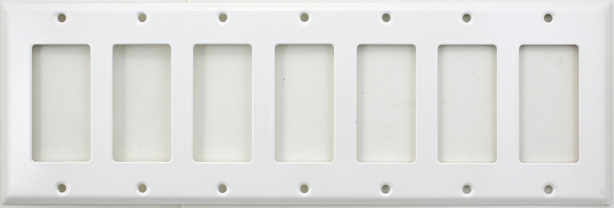 Smooth White Seven Gang Wall Plate - Seven GFI/Rocker Opening