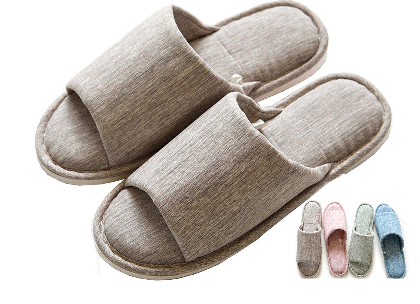 Lijeer Men Indoor Home Slippers Women Cotton Cozy Memory Foam Flax House Casual House Open-Toes Striped Slide Gray US7.5-8=EU40-41=UK6.5-7