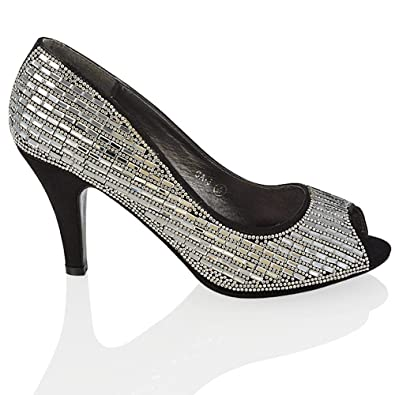3287acafdf Belle Beaux Womens Low Heel Diamante Ladies Party Prom Bridal Sparkly PEEP  Toe Shoes Sandals: Amazon.co.uk: Shoes & Bags
