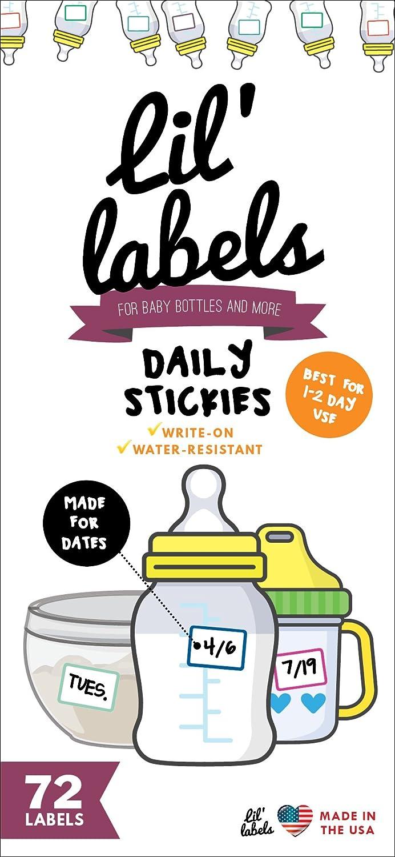 Date Labels, Bottle Labels, Write-On for Daycare, Removable Labels, Food Container Jar Kitchen Labels, Freezer-Safe Breast Milk Storage Bag Labels, Blank, Washable, Multi-Color