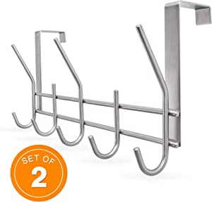 YUMORE Over The Door Hook,Stainless Steel Heavy Duty Door Hanger for Coats Robes Hats Clothes Towels, Hanging Towel Organizer,Space Saving Bathroom Hooks Use Directly Without Installation, Pack of 2