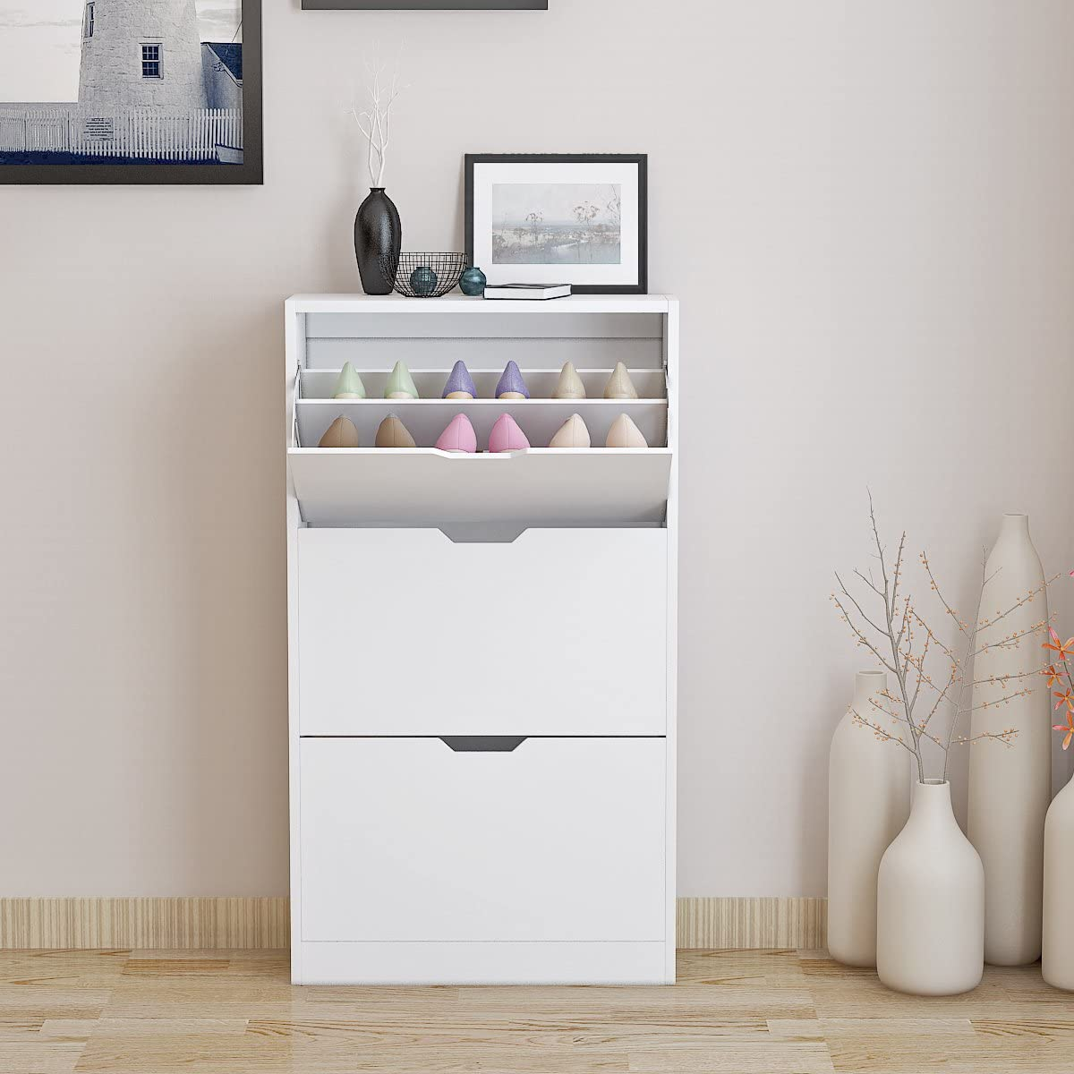 Beshomethings 3 Tiers Shoe Storage Cabinet,Wooden Rack Cupboard Sideboard Organizer Unit With Drawers in White