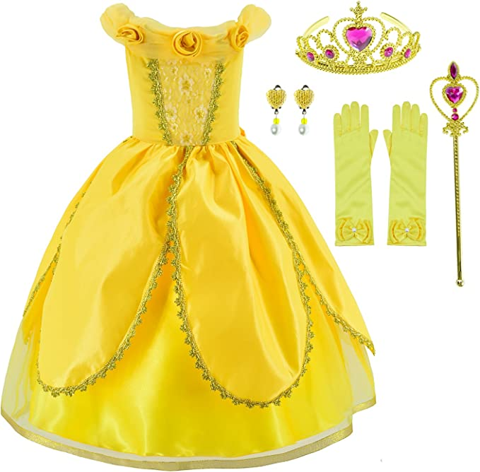 Party Chili Princess Costumes Birthday Party Fancy Dress Up for Little Girls Age 2-11 Years