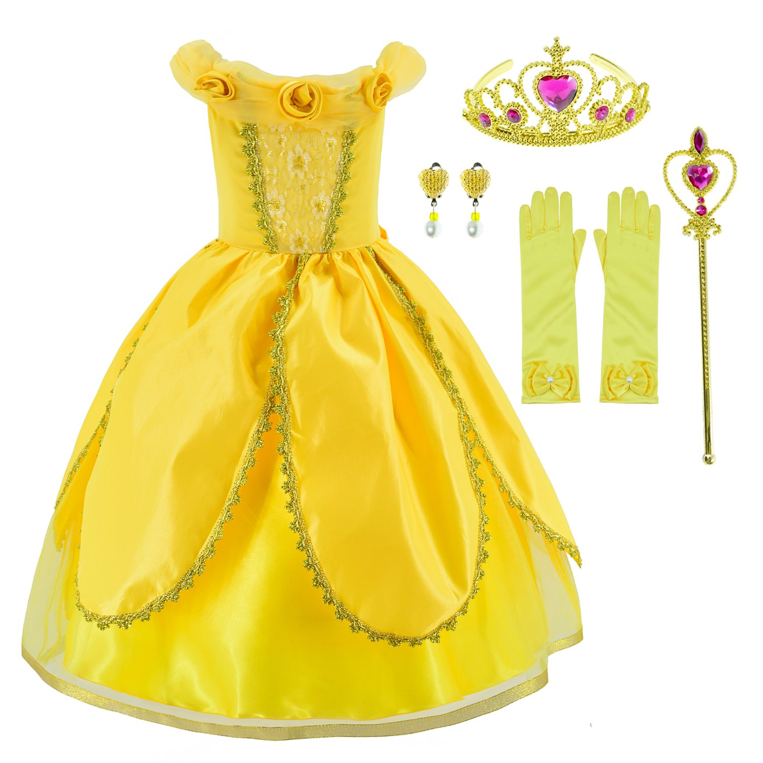 Princess Belle Costume Deluxe Party Fancy Dress Up For Girls with Accessories 10-12 Years(150cm)