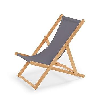 Amazonde Gartenliege Aus Holz Liegestuhl Relaxliege Strandstuhl Grau