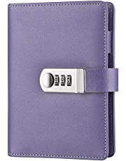 ToiM Macaroon Color PU Leather A6 Loose-Leaf Locking Binder Journal with Combination Lock, Passcode Diary Secret Notebook