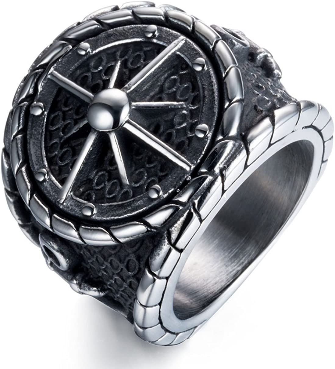 Kebaner Men Women Anchor Nautical Compass Ring 316L Stainless Steel Black Silver Vintage Band Size 7-14