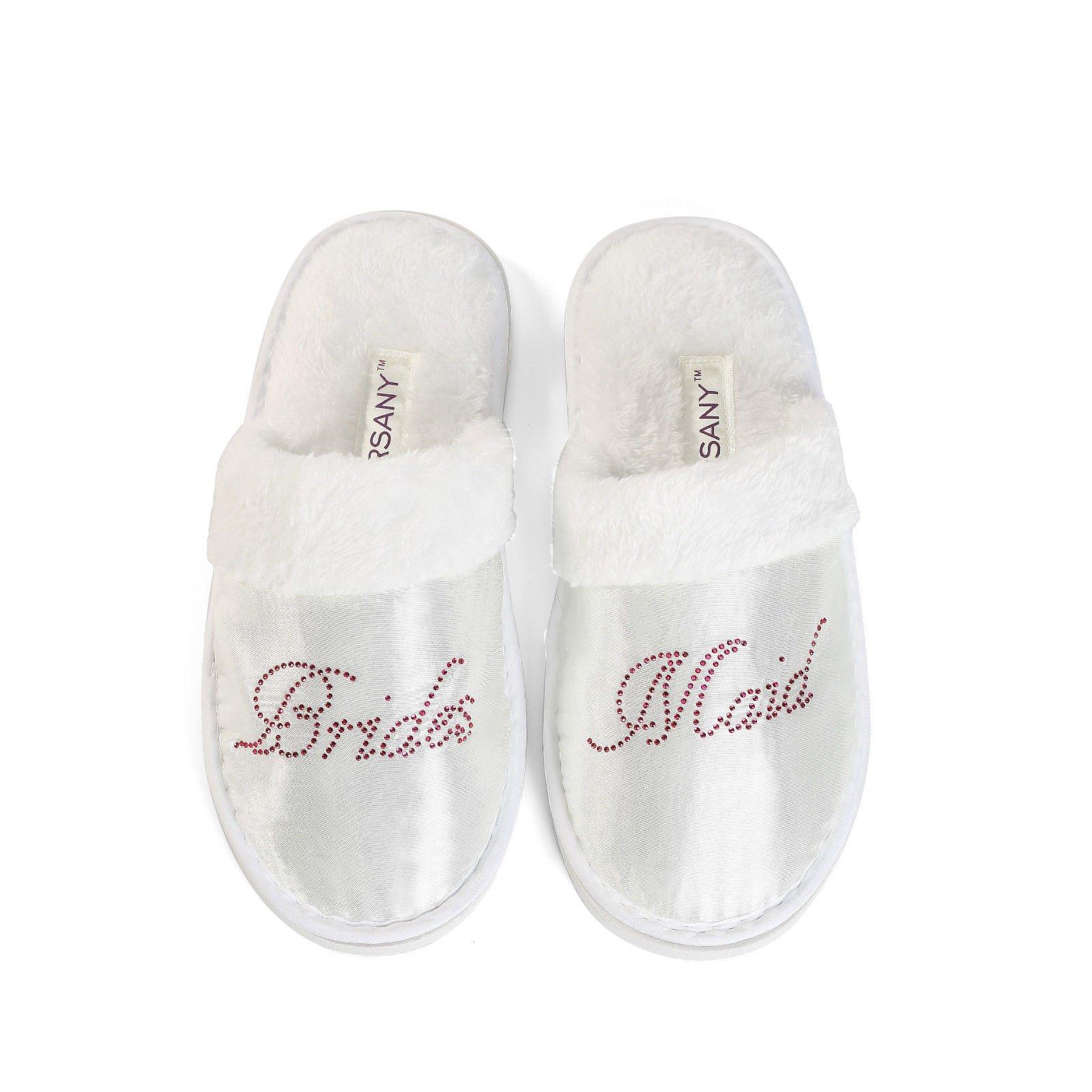 Hot Pink Bridesmaid Spa Slippers Hen party Wedding Diamante rhinestone crystal hotel slippers