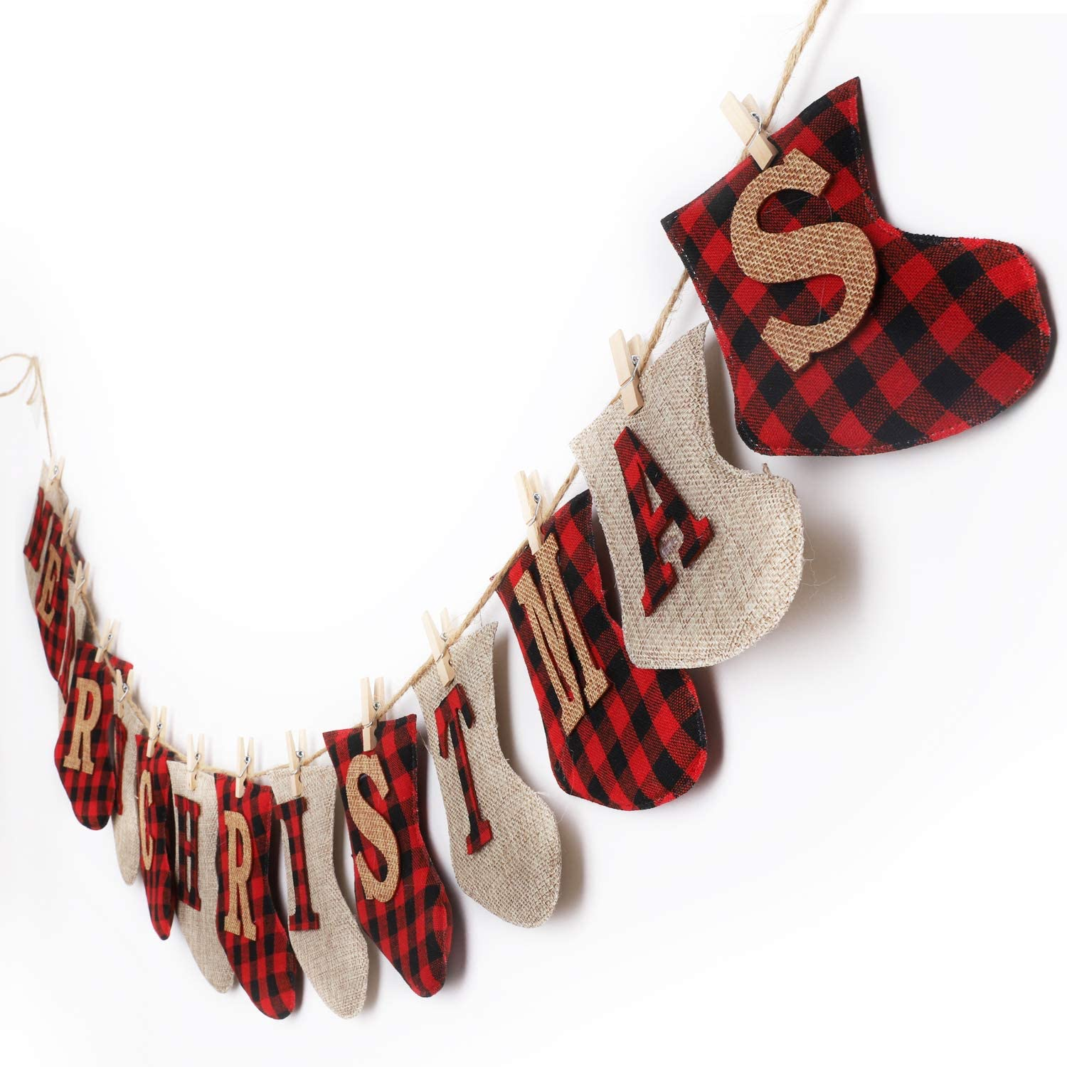 Merry Christmas Banner - Burlap Sock Shaped Christmas Decoration, Unique Hand-Sewn Christmas Decor, Great for Fireplace Wall Tree Wall Garden Indoor Outdoor Christmas Banner