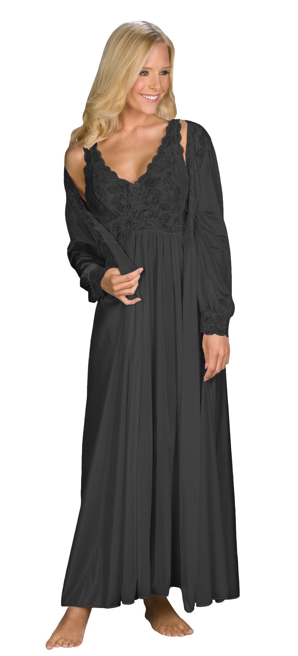 Shadowline Silhouette Gown and Peignoir Set (51737), Black, 1X