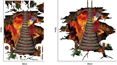3D Magic A Volcano spouts Flame and Bridge Beyonds Creative 3D Space Wall Decals Removable PVC Wall Stickers Murals Wallpaper Art Decor for Home Walls Ceiling Boys Room Kids Bedroom Nursery School