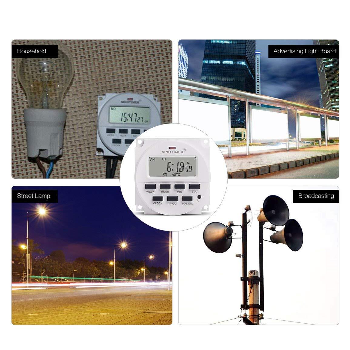 SINOTIMER 220V Semanal 7 d/ías Programador Digital Control de Temporizador de rel/é del Temporizador para aparatos el/éctricos Configuraci/ón de Encendido Apagado fghfhfgjdfj