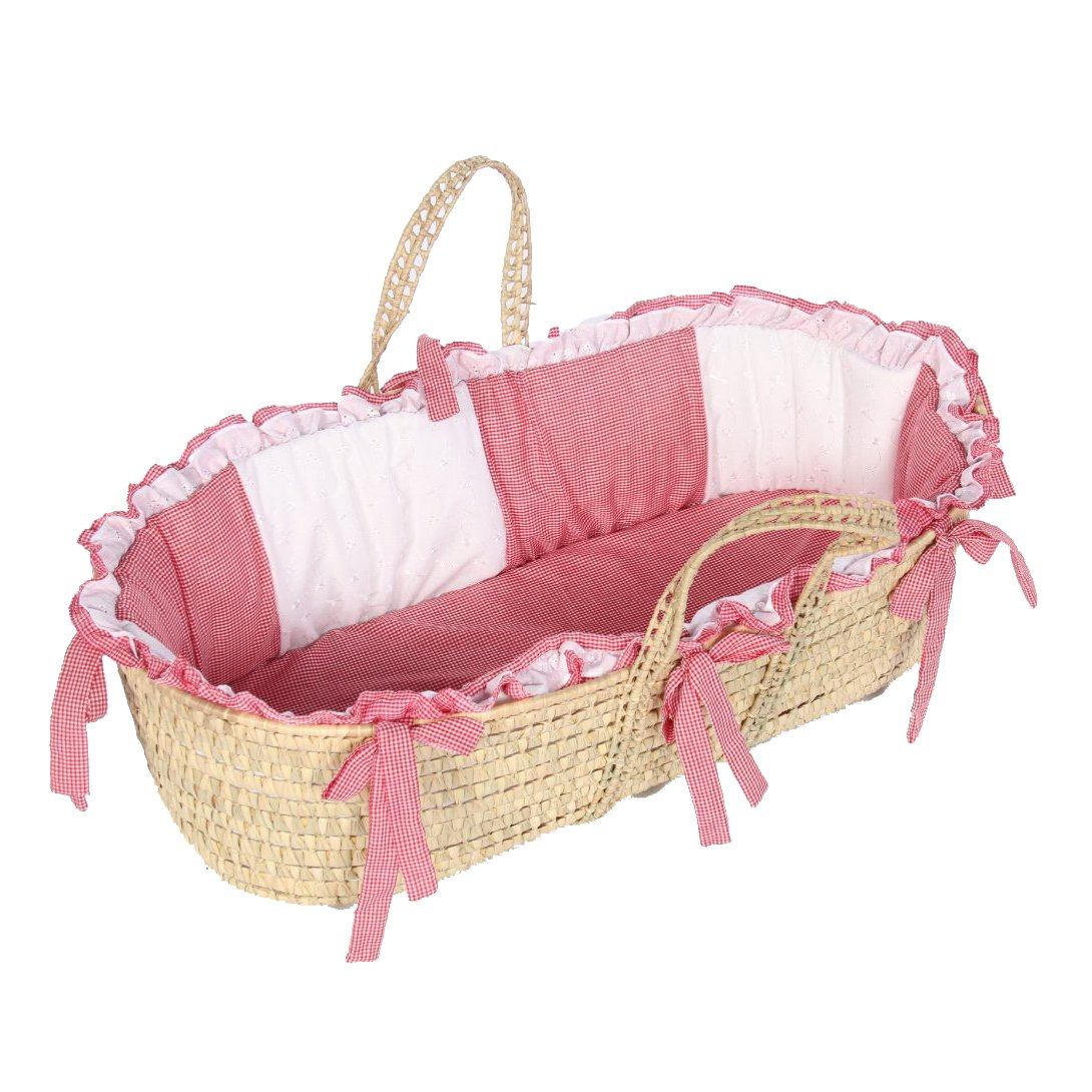 bkb Gingham Eyelet Moses Basket, Red 009243370116