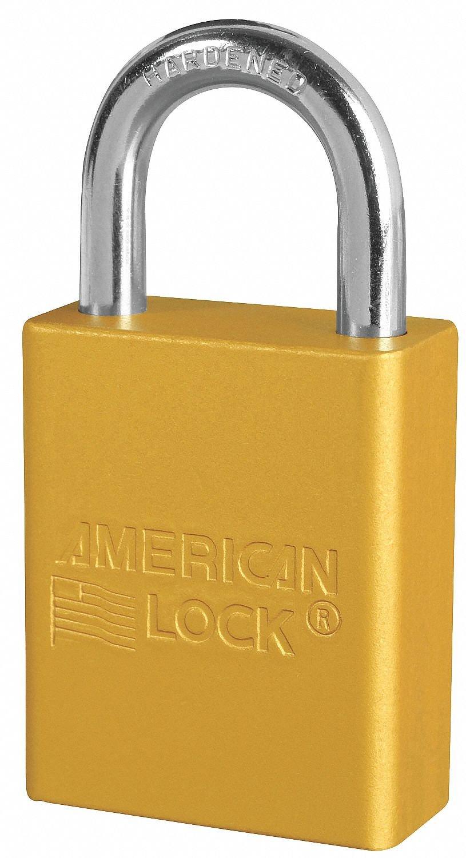 Yellow Lockout Padlock, Alike Key Type, Aluminum Body Material, 12 PK