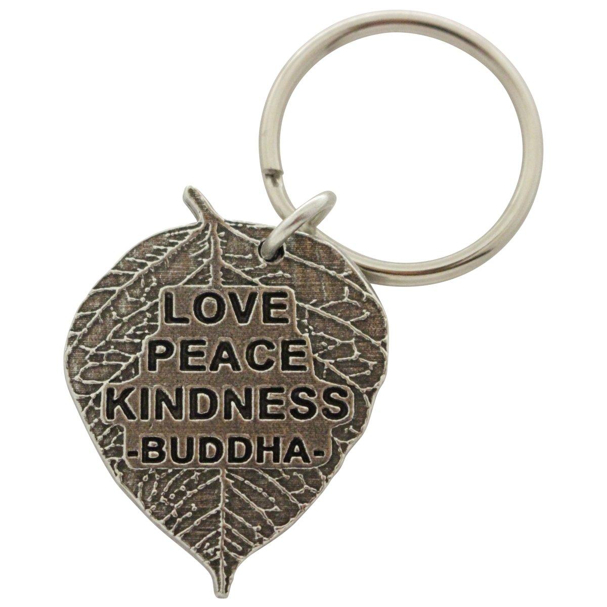 Creative Pewter Designs, Pewter Buddha Leaf Key Chain, Antiqued Finish, A1102KC