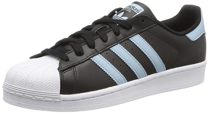 adidas Superstar Schuhe Herren Low-Top Schwarz mit hellblauen Streifen