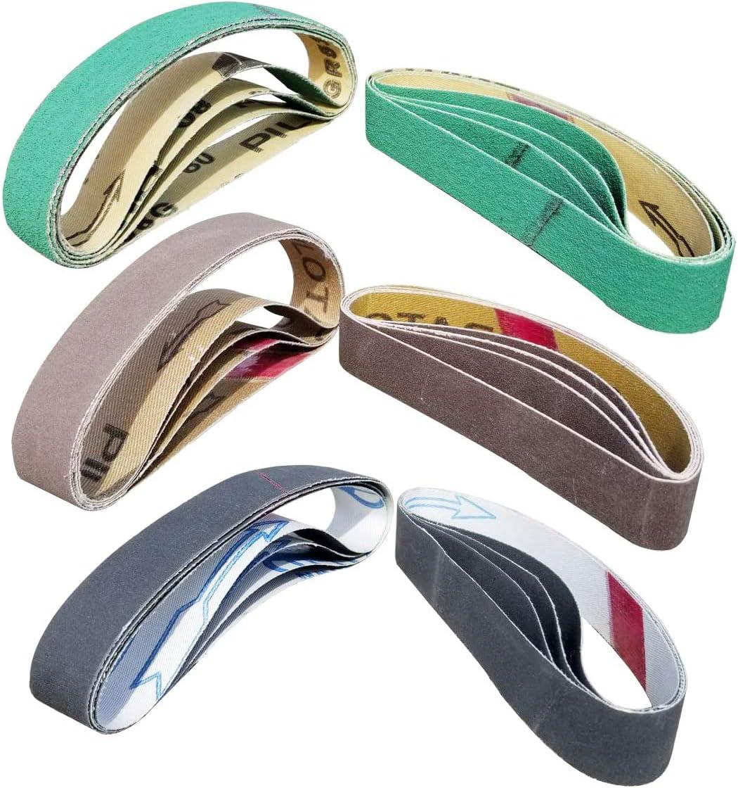 "24 Pcs Knife Sharpener Sanding Belts, 3/4"" x 12"" Replacement Belt Kit for the Ken Onion Edition Work Sharp Knife & Tool Sharpener - 4 belts each of 80/120/240/400/1000/1200 Grits - -"
