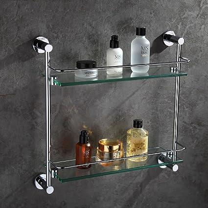 Mensole bagno Scaffale da bagno in metallo Doppio vetro Shelf ...