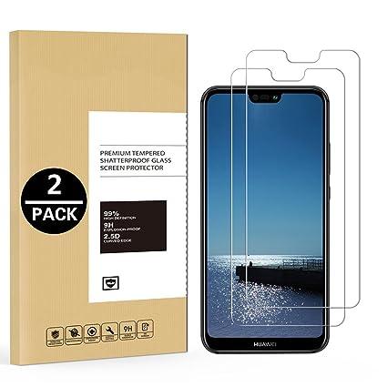 [2-Pack] Protector de Pantalla para Huawei P20 Lite, SpiritSun Cristal Templado