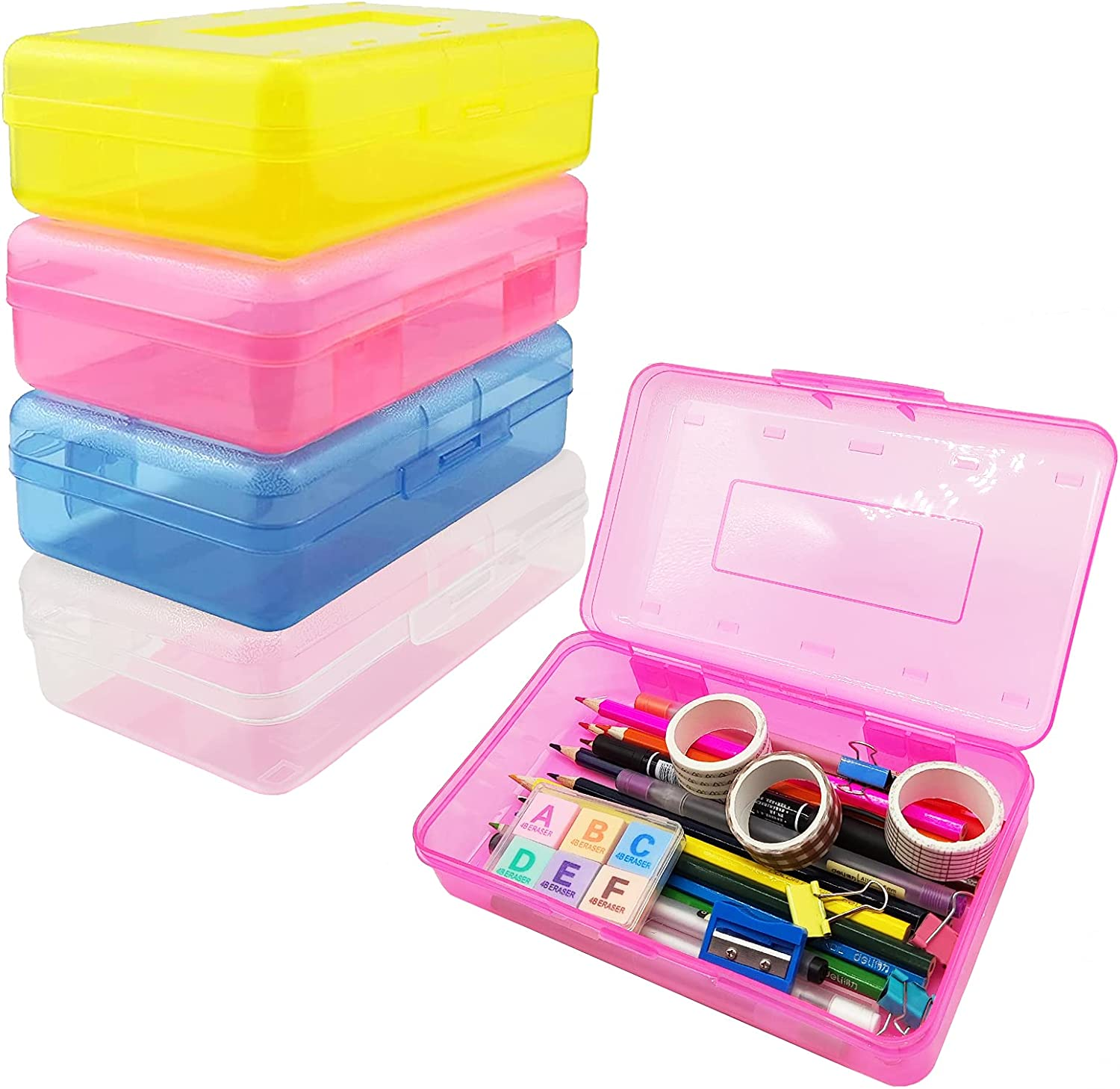 Nuozme Plastic Translucent Pencil Box for Kids, Large Capacity Pencil Cases with Snap Tight Lid, Stackable Pencil Holder Office Supplies Organizer for Pens Pencils School Supplies,1 Pack (Red)