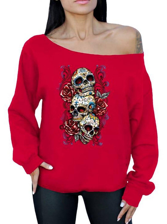 Awkwardstyles Three Sugar Skulls Roses Off The Shoulder Oversized Sweatshirt