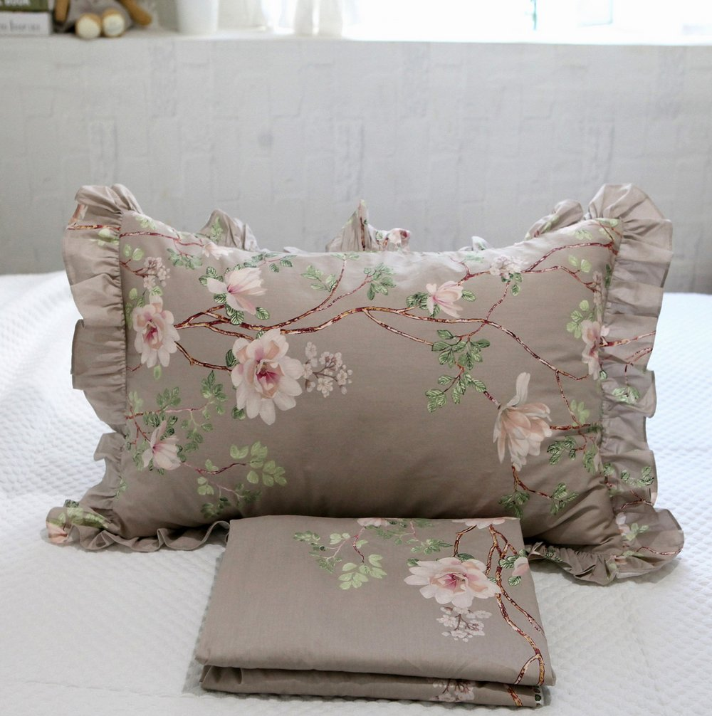 HOMIGOO 4PC Country Bedding Set Floral Fitted Sheet Twin