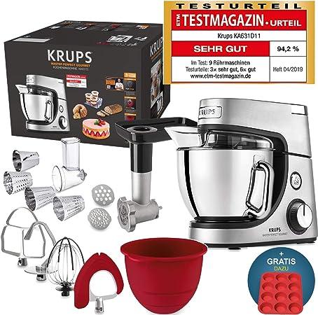 Robot de cocina Krups Premium 17 pzs., bol acero inox. 4,6 l, bol silicona, 4 agitadores acero inox., apto para lavavajillas, 1100 W, cortadora, picadora de carne, recetas gratis y molde 12 pasteles: Amazon.es: Hogar