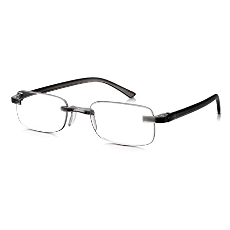Gafas READ OPTICS Graduadas de Lectura con Lentes +1.25 para Presbicia | para Hombre/Mujer | Ligeras y Resistentes Sin Montura/Patillas en Gris