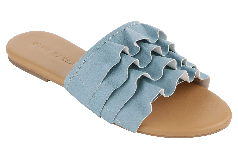 Ruffle Flat Slides Fashion Sandals
