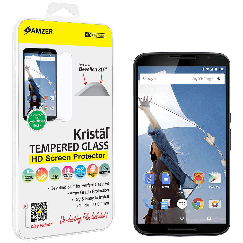 Amazon.com: Amzer Kristal Tempered Glass HD Screen Protector for Google/Motorola Nexus 6(Fit All Carriers): Electronics