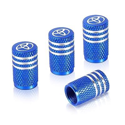 Qideloon Auto Tire Valve Caps,4pcs Aluminum Valve Stem Caps Universal fit for Car,Motorbike,Trucks,Bike and Bicycle (Blue): Automotive