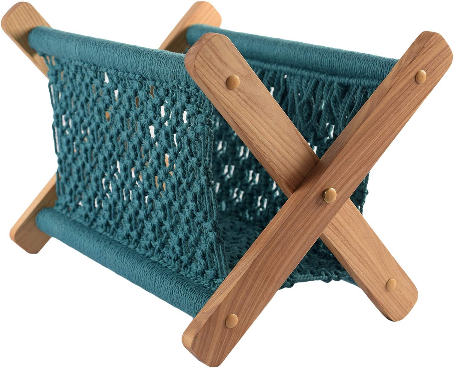 Macrame Boho Magazine Holder, Magazine Rack Boho Decor, Boho Shelves for Towel, Books, Newspapers, Notebook, Tablets, Living Room, Office, Boho Wall Decor For Bedroom |14x13x10 In - Teal