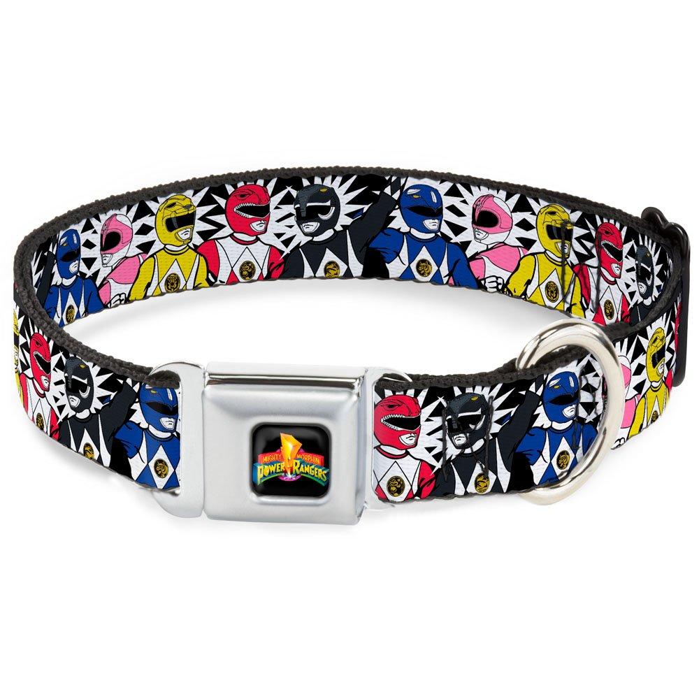 Buckle-Down Seatbelt Buckle Dog Collar Power Rangers Burst Black White 1  Wide Fits 11-17  Neck Medium
