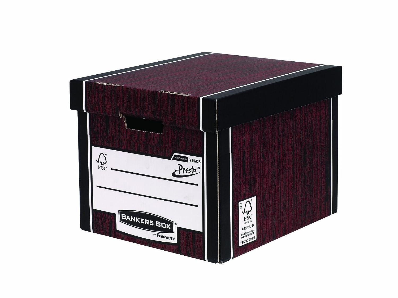 Fellowes 7260601 Grand Conteneur Banker Box Premium Montage Automatique - Bleu (Lot de 10) Grande boîte d' archivage