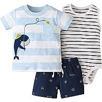 Bebé Ropa Mamelucos + Camiseta + Pantalón 3Pcs Trajes, Peleles Manga Corta Algodón Monos Recién Nacido Regalo Verano…
