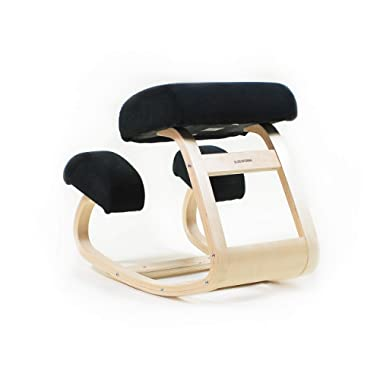 Sleekform Ergonomic Kneeling Chair | Balans Posture Correcting Wooden Stool for Office & Home | Back Support, Neck Pain & Spine Tension Relief | Rocking Kneel Seat with Orthopedic Soft Knee Cushions