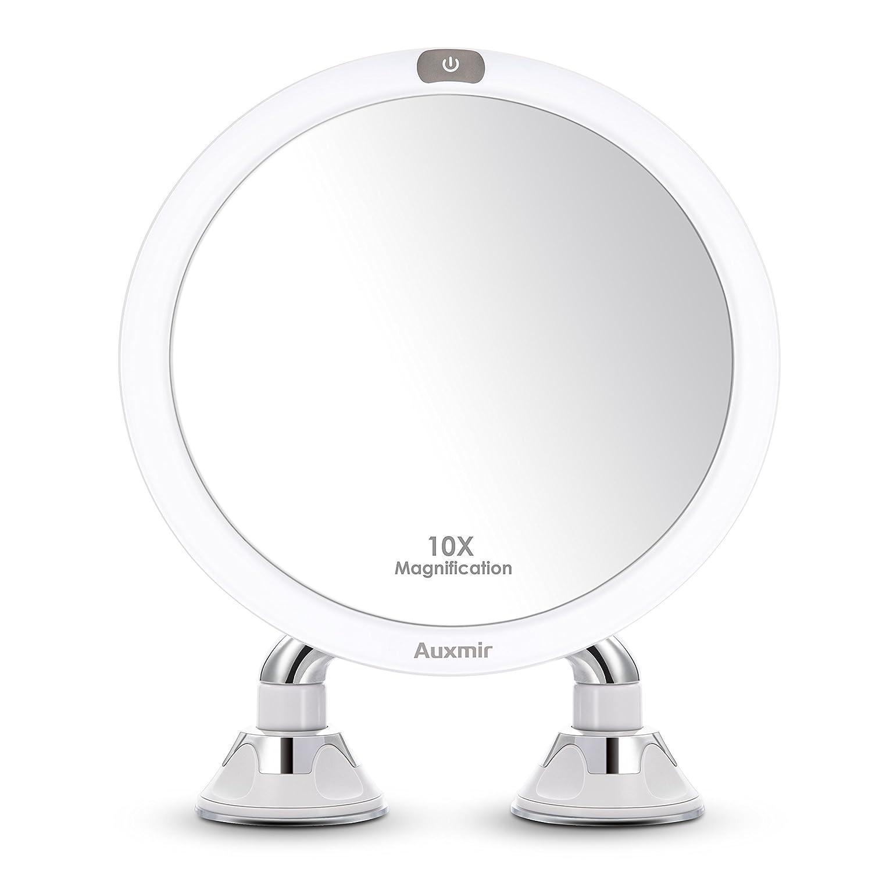 Miroir de beauté Auxmir LED 20cm avec grossissement 10X et 2 ventouses puissantes, pivotant à 360 °, miroir de maquillage Miroir de rasage Illuminé par cble USB pour salle de bain, salon de beauté, spa et hôtel