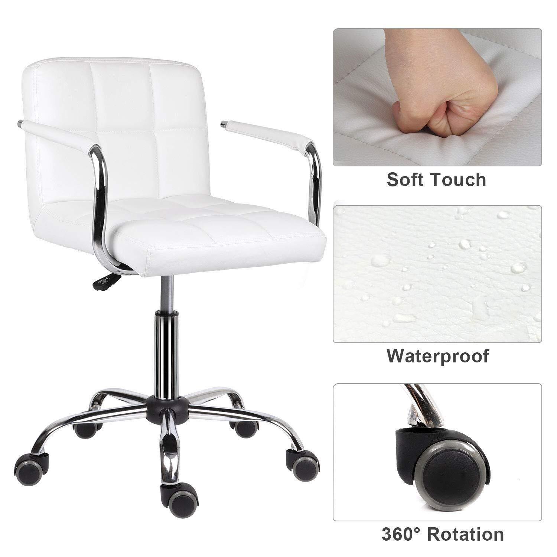 Pangpang skrivbordsstol, läder skrivbordsstol bekväm vadderad datorstol, bekväm vadderad datorstol med armstöd svängbar stol, justerbar höjd svängbar stol (färg: vit) Vitt