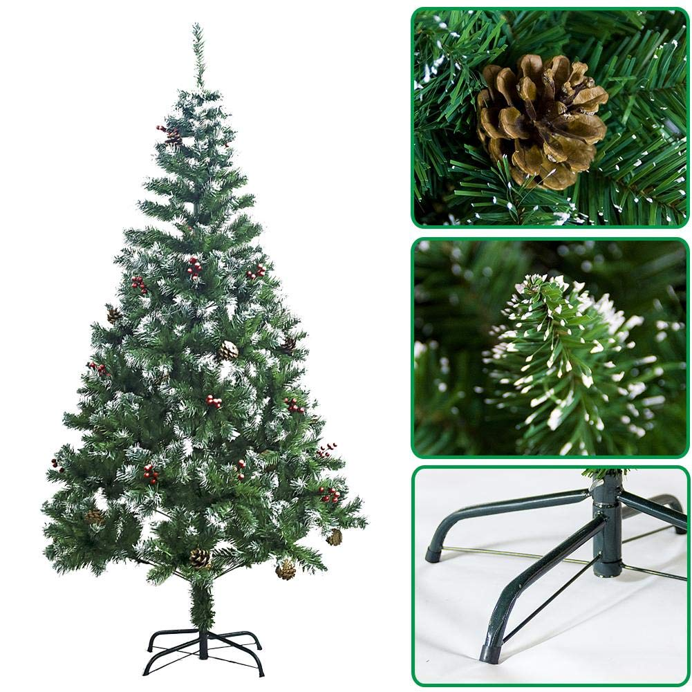 Christmas Tree with Pine Cone Red Fruit Snow 4ft 5ft 6ft 7ft Artificial Green Christmas Tree Colorful LED Optic Fiber Lamp Indoor Xmas Decoration Iron Stand Home Festival Decor iBaste_S