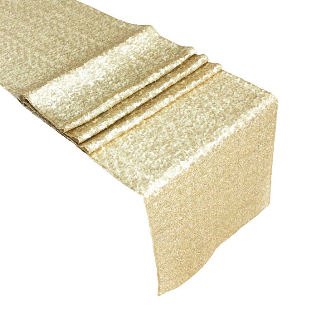 Exquisite premium quality glitzy sequin champagne table runner - ChristmasTablescapeDecor.com
