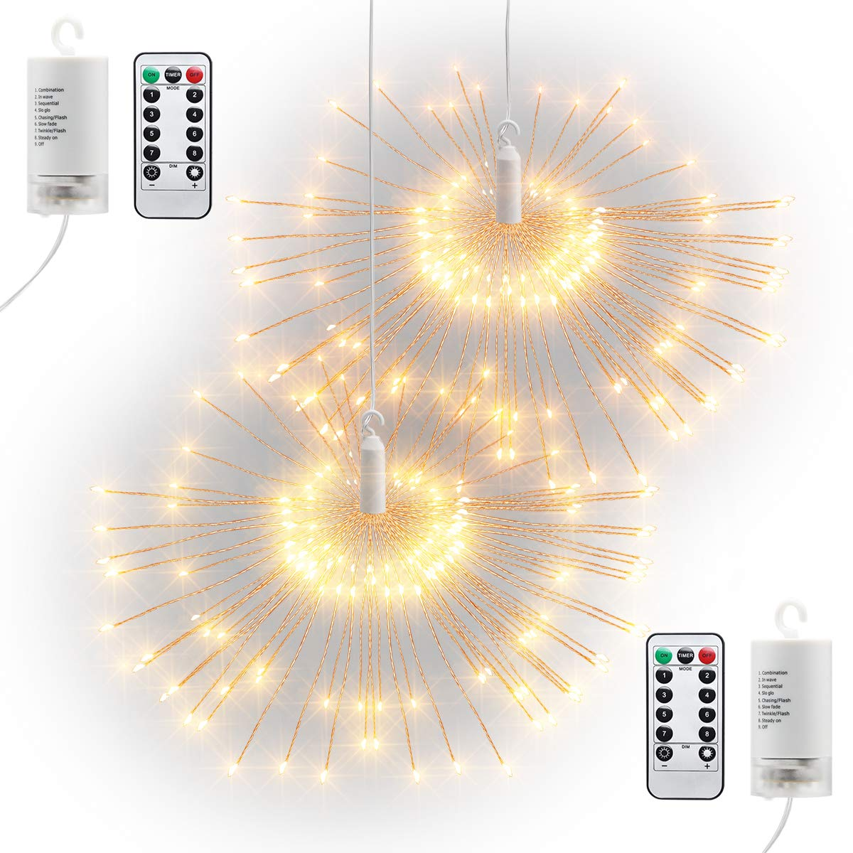 GDEALER 2 Pack 120 Led Dimmable Starry String Lights, 6ft Waterproof Fairy Lights Battery Operated with Remote Timer,8 Modes Twinkle Lights Christmas Lights Indoor Outdoor Tree Decor Warm White