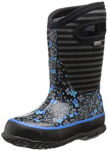Bogs Classic Flower Stripe Waterproof Insulated Rain Boot (Toddler/Little  Kid/Big Kid