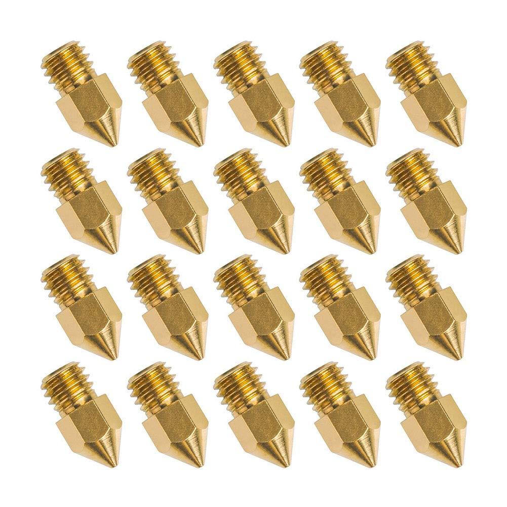 JER 20 Piezas 3D Boquilla de la Impresora MK8 Extrusora de Accesorios de lató n Cabeza de Impresora para Creality Cr10 (0, 4 mm)