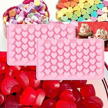 Minisoya - Molde para tartas de chocolate de San Valentín, 2 piezas, 55 cavidades, para hornear galletas, galletas, gelatina, dulces y moldes: Amazon.es: ...
