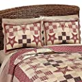 Country Star Checkered Floral Patchwork Quilted Pillow Sham, Burgundy