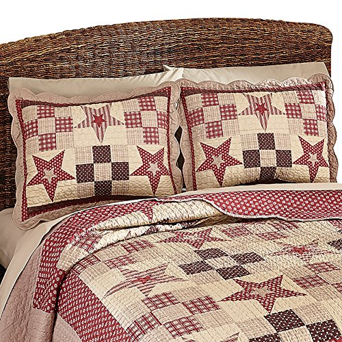 Collections Etc Country Star Checkered Floral Patchwork Quilted Pillow Sham (35564), (Patchwork Quilted Standard Sham)