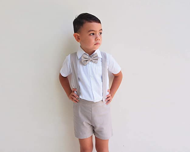 dfc6dfcf22b9e Amazon.com  3pcs Boy Suspender Shorts Outfit - Beige